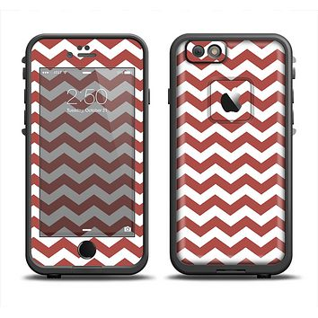 The Maroon & White Chevron Pattern Apple iPhone 6 LifeProof Fre Case Skin Set