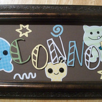 Cocalo monster peek-a-boo name sign customized  WITH FRAME boy girl  baby toddler bedroom wall hanging home decor