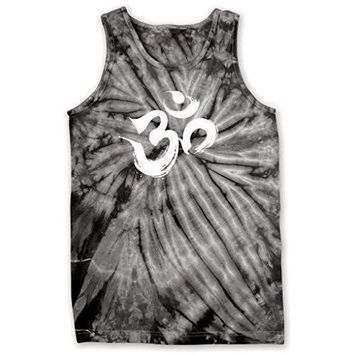 Yoga Clothing for You Mens Brushstroke AUM Tie Dye Tank Top