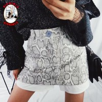 New fashion snake texture fake two pieces short skirt women