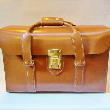 Vintage Train Case Carry-on FLIGHT CASE Leather Scott Saddle 1980s