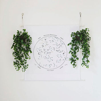 Constellation Star Chart Wall Tapestry Banner, star map, star chart, wall art, wall hanging, wall decor, wall banner, minimalist decor