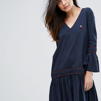 Ganni Norwich A Line Dropped Hem Dress at asos.com
