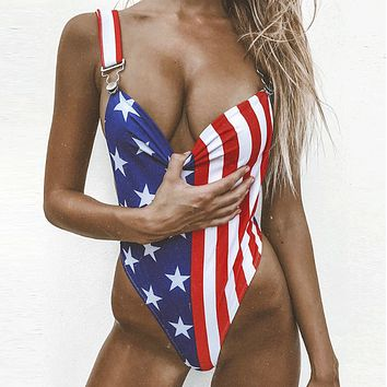 Summer New Fashion Star Stripe Print Straps One Piece Bikini Swimsuit