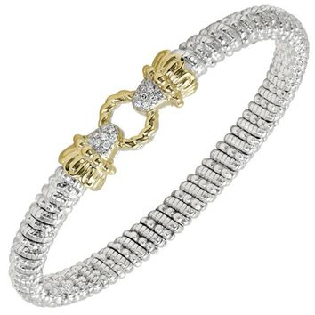 """Vahan Sterling Silver & 14K Yellow Gold """"Le Cercle"""" Rope Textured Bangle Bracelet"""