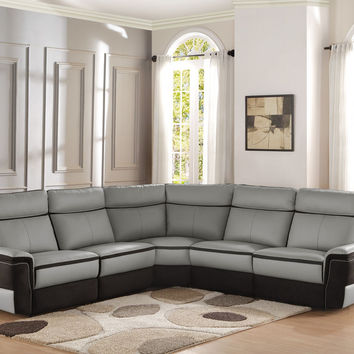 Power Reclining Sectional Sofa Top Grain Leather with Fabric