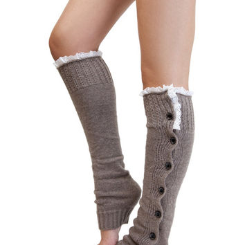 TAUPE BUTTON DOWN leg warmer boot socks, warm brown boot socks with lace trim edge, knit leg warmer