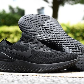 HCXX 19Aug 549 Nike Epic React Flyknit 2 Triple Black AQ0067-003 Mesh Sneaker Breathable Casual Running Shoes