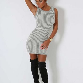 Ulani Grey Knit Mini Dress | Pink Boutique