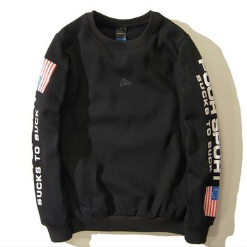 Street skateboard tide brand flag sleeve printing tide men round collar plus velvet sweater men and women money sets of head sweater tide