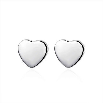 silver plated earrings Heart Tag stud brinco floating charms 1 MP