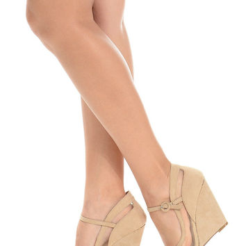 Open Toe Wedges Sandal Beige