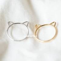little kitty hammered knuckle ring,cute ring,cat ear,pet jewelry,simple kitty ring,cat jewelry,mid knuckle ring,above the knuckle ringRN2557
