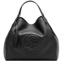 Gucci Soho Medium Black Hobo Leather Double Strap Italy Handbag Bag New