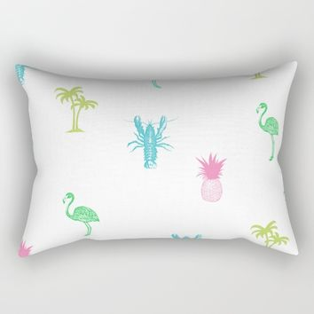 Tropical Delight (pink) Rectangular Pillow by The Wallpaper Files
