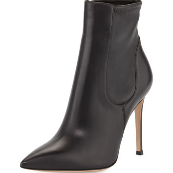 Stretch Leather Ankle Boot, Black - Gianvito Rossi - Black