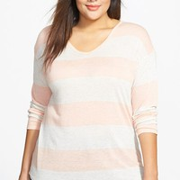 Plus Size Women's Lucky Brand Stripe V-Neck Top,
