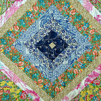 "Quilted String Tablerunner, Table Topper, Centerpiece Mat, Tablecloth – Shabby Chic –23"" x 23"" -Shades of Blue Pink Yellow Green Orange Tan"