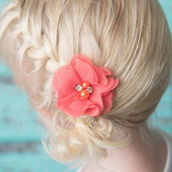 Coral hair clips
