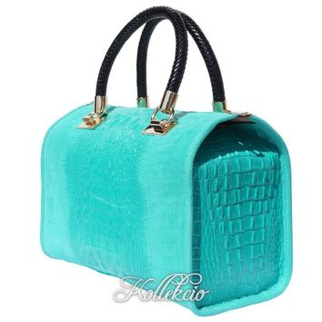 Italian Turqouise Blue Genuine Leather Handbag with Crochodile Skin Deco