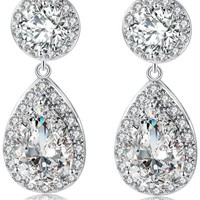 Retro Rhinestone Teardrop Drop Earrings
