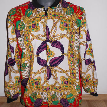 Vintage gold baroque bomber, vintage bomber for men, men baroque bomber, versace like baroque, gold baroque bomber jacket for men vintage