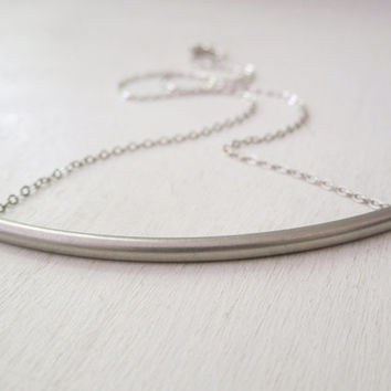Bar Necklace - Silver Curved Tube Bar Necklace Silver Chain