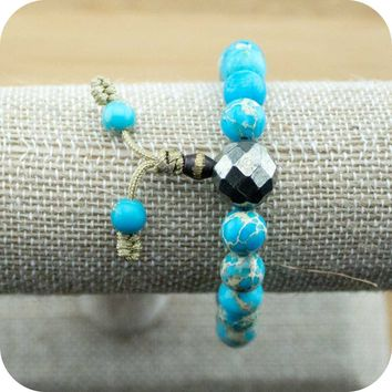 Variscite Buddhist Mala Bracelet with Faceted Pyrite