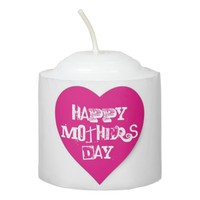 Happy Mother's Day Heart Pink White Votive Candle