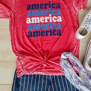 America Repeat Acid Wash Tee {Red}