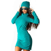 2017 Women Dresses Casual Long Sleeve Solid Mini Dresses New Autumn Off Shoulder Cut out Bodycon Dress Vestidos M0569