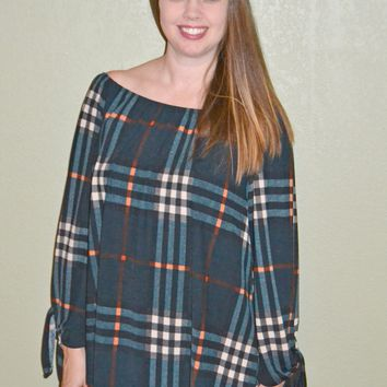 Autumn Spice Off Shoulder Plaid Top
