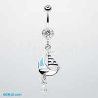 Classic Sail Boat Anchor Dangle Belly Button Ring