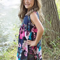 Girls Navy Floral Tank Dress With Side Pockets