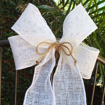 Burlap Pew Bows Rustic Wedding Decor Set Of Two