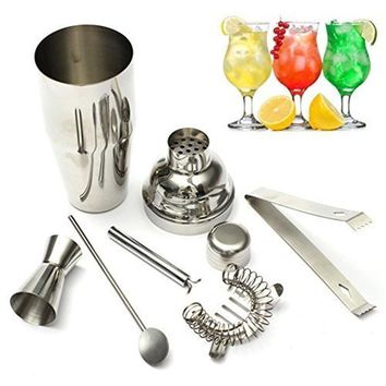 5pcs Stainless Steel Cocktail Shaker Making Set 550ml Shaker Drink Strainer Ice Clip Tongs Mixing Spoon Measuring Cup Bar Tool