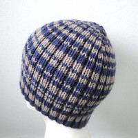 Blue & Tan Brown Beanie, Knit Hat, Skullie, Teens Guys Men, Gift for Him