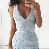 Backless Hollow Out Lace Dress