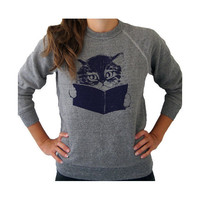 SALE / Kitty sweater. eco-friendly fleece. gray.