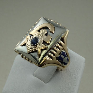 Vintage 1930's Art Deco Style Masonic Ring With Sapphire and Enamel Accents in 10k White and Yellow Gold
