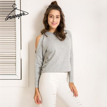 Winter Women Sweatshirt Series Autumn Casual Solid Cold Shoulder Pullovers Lace Up Tops Hoodies Woman