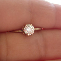 Antique Victorian Old European Cut Diamond Solitaire Engagement Promise Ring 14k Rose Gold Bridal Wedding Jewelry