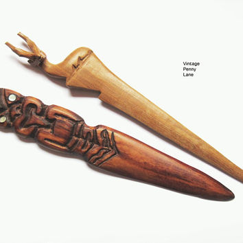 Vintage Wood Letter Openers, Carved Wooden Handmade Letter Openers