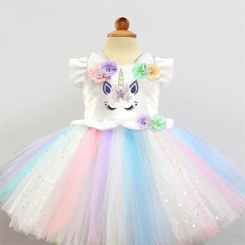 Cute Baby Girls Unicorn Party Dress Halloween Carnival Christmas Fantasy Kids Clothing Dresses Girls Colorful Tutu Gown Size 2T