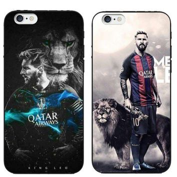 CREYDC0 New Messi Football Case Barcelona Soccer Soft Cover iPhone 5S 6 6S Plus 7 8 X