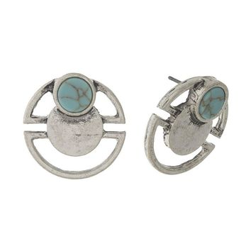Matte Silver Tone Stud Earrings with a Turquoise Stone Accent