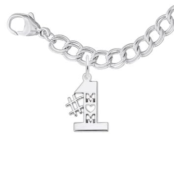 #1 Mom Charm and Bracelet Set in Sterling Silver