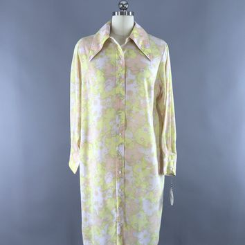 Vintage 1970s Shirt Dress / Pastel Abstract Print