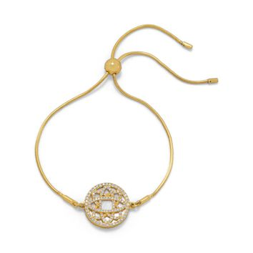 14 Karat Gold Plated Mother of Pearl CZ Bolo Bracelet