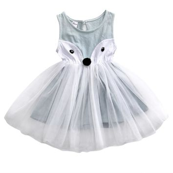 Cute Cotton Toddler Baby Girl Dress Kids Fox Lace Sleeveless Party Pageant Princess Tulle Tutu Dresses